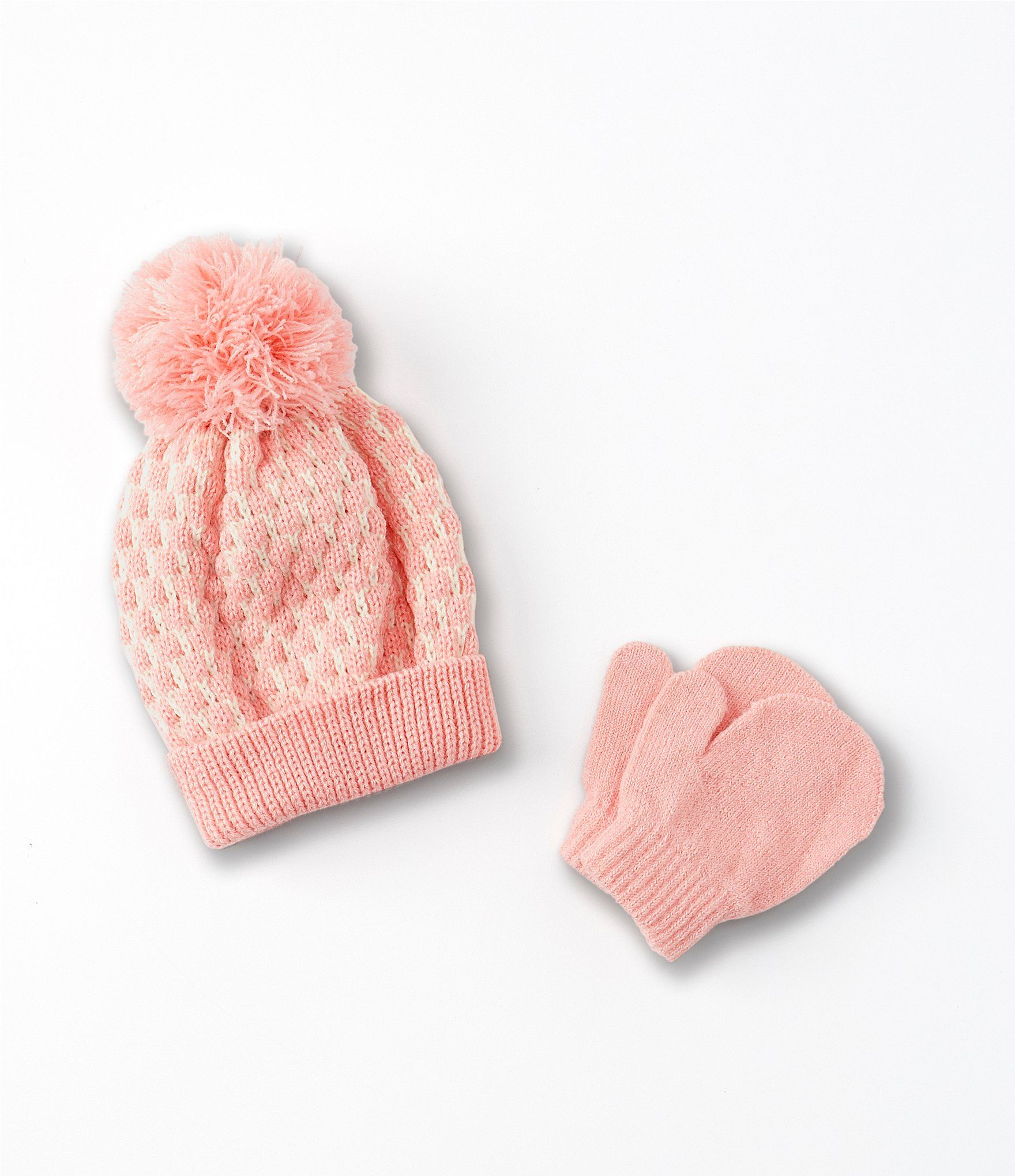 Photo of Starting Out Baby Girls Dot Crochet Knit Hat  Mittens Set – Pink N/A