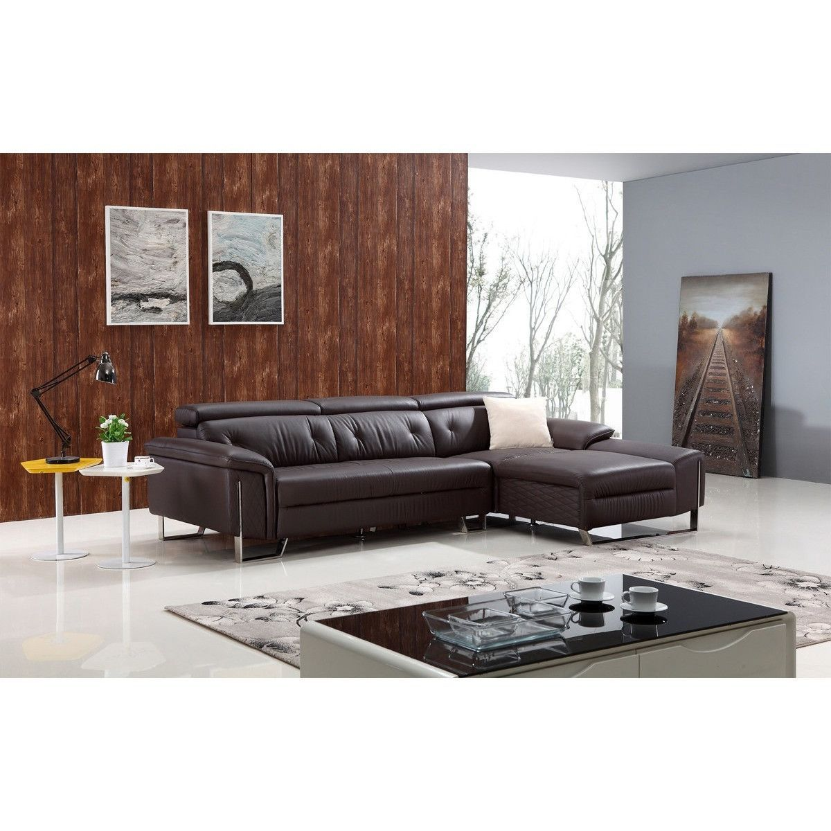 Divani casa t modern brown leather sectional sofa leather