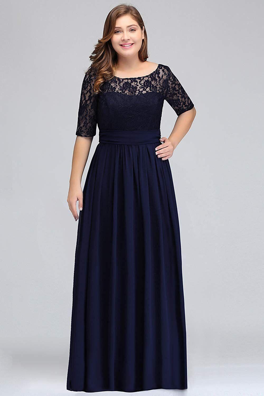 Misshow Damen Übergröße Abendkleid Spitze Chiffon mit Ärmel
