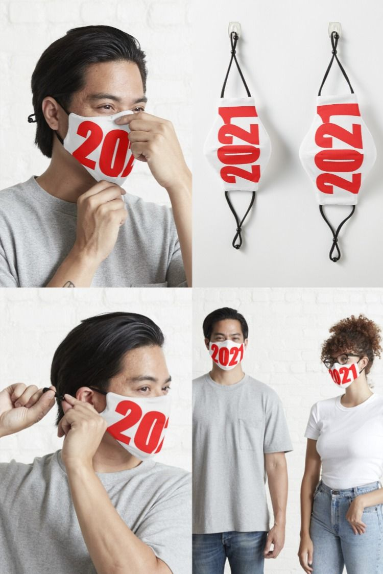 Happy New Year 2021 Fitted Mask By Rajnagar1107 In 2020 Fashion Face Mask Mask For Kids Fashion Mask