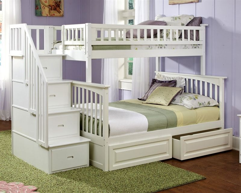 Columbia Twin Over Full Staircase Bunk Bed White Staircase Bunk