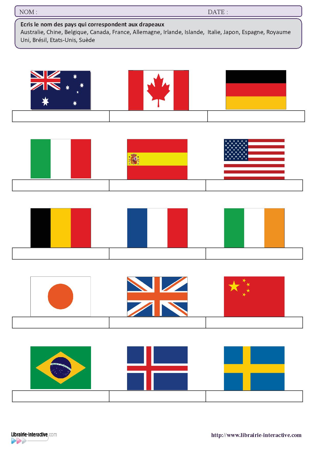 une petite fiche de vocabulaire sur le th u00e8me des pays et des drapeaux pour les  u00e9l u00e8ves de cycle 3