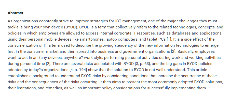 Bring Your Own Device An Overview of Risk Assessment
