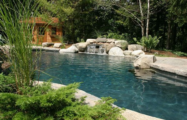 Submerged rocks, a granite waterfall and cedar cabana combine to create the mood of a northern Ontario cottage in this generously proportioned yard. The pool, finished for a more natural look in black Armourcoat and tile edging, is surrounded by an expansive four-inch thick granite patio with deck-over coping. Avid swimmers enjoy a large deep end and twin diving rocks, while the evergreen plant materials and ferns enhance the woodland atmosphere. (16 x 32, custom shape)