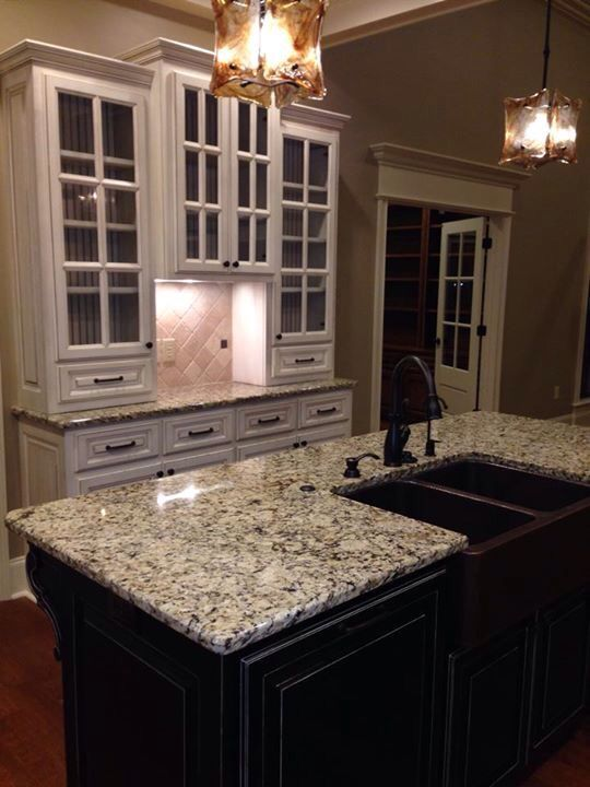 Antique white cabinets with black island | Black cabinets ...