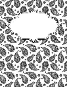 free printable black and white paisley binder cover template