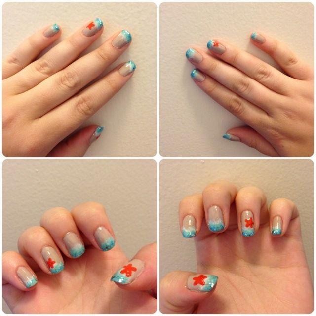idée de déco ongles pour l'été avec des étoiles de mer