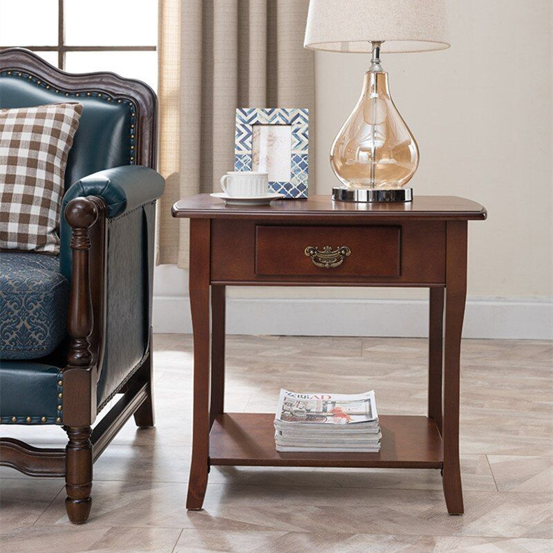 American Solid Wood Side Simple Sofa Cabinet Table Side Cabinet Mini Corner Coffee Table S Wood Side Table Living Room Living Room Table Living Room Side Table #wood #side #tables #living #room