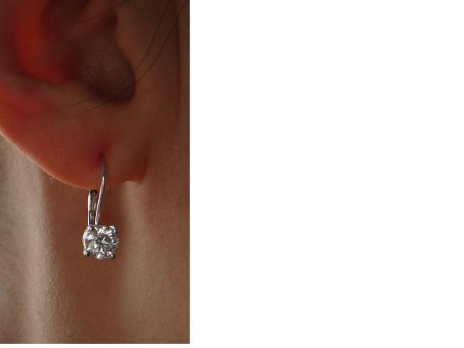 Leverback Diamond Solitaire Earrings
