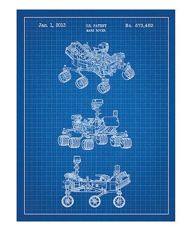 Another great find on #zulily! Blue 2013 Mars Rover Patent Art Screen Print #zulilyfinds