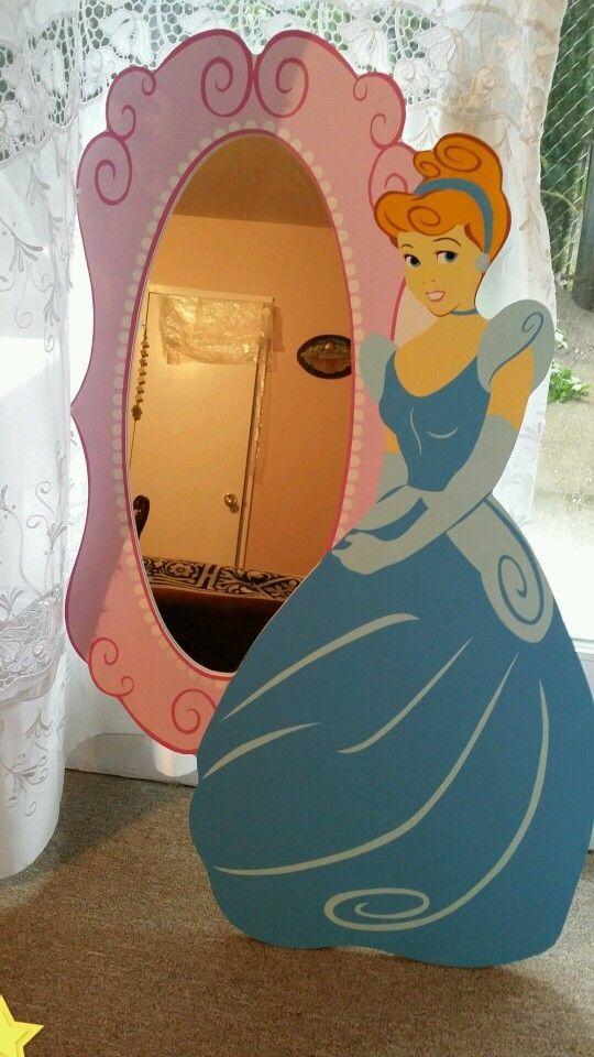 Disney Cinderella Pink Princess Wall Mirror Painted Wood Local