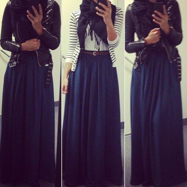 c3b8f8a14dec42 jupe longue et veste en cuir pour un look bohême rock, associé à un ...