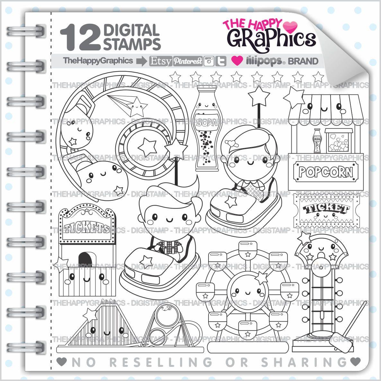 Amusement Park Stamp Commercial Use Digi Stamp Digital Image Party Digistamp Coloring Page