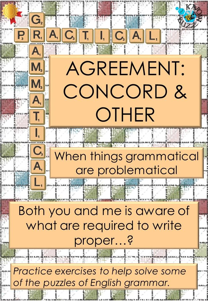 Agreement Concord In English Grammar A Worksheet For Practice
