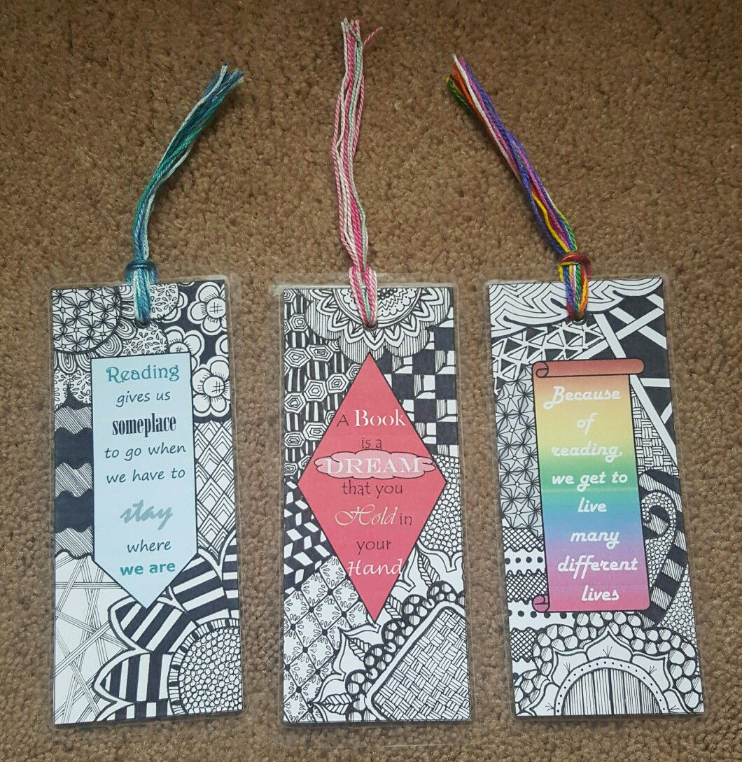 Zentangle Bookmarks With Quotes About Reading