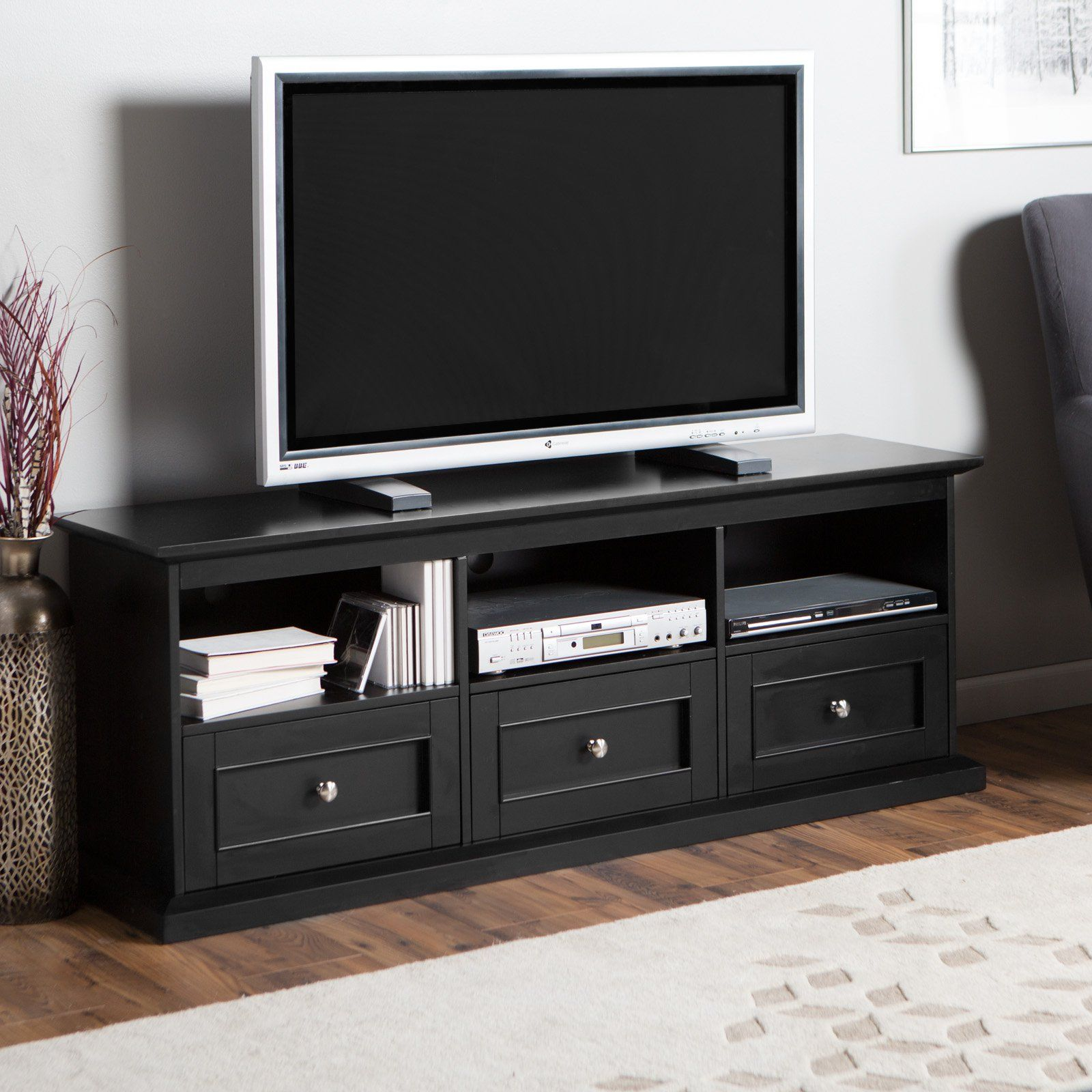 Belham Living Hampton Tv Stand With Drawers Black Get The