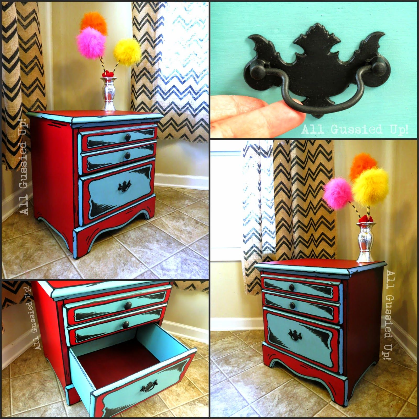Dr Seuss Illustrations Inspired Night Stand And Table
