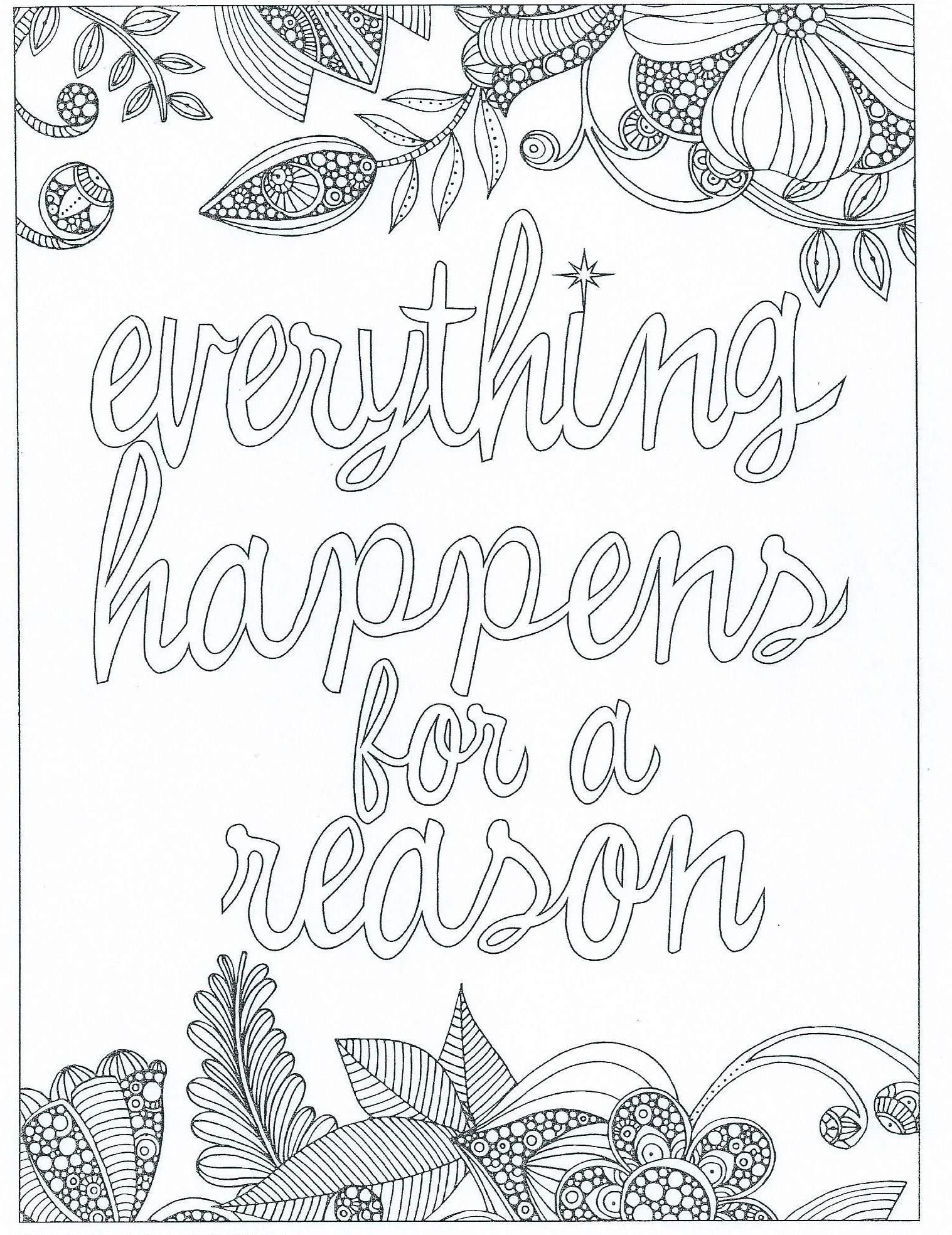 everything happens for a reason coloring page words coloring