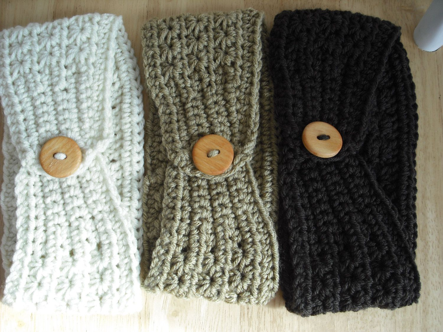 Winter Headband Ear warmer - buttons in back. Ivory, Light Taupe or ...
