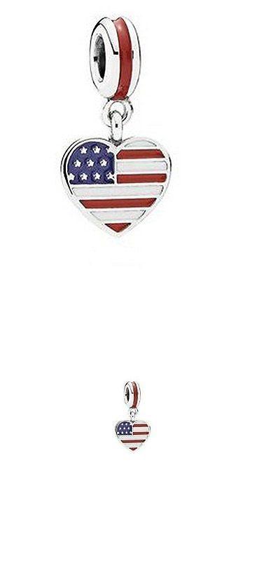 Pandora 791548ENMX US Heart Flag Charm Fk8hF3T1