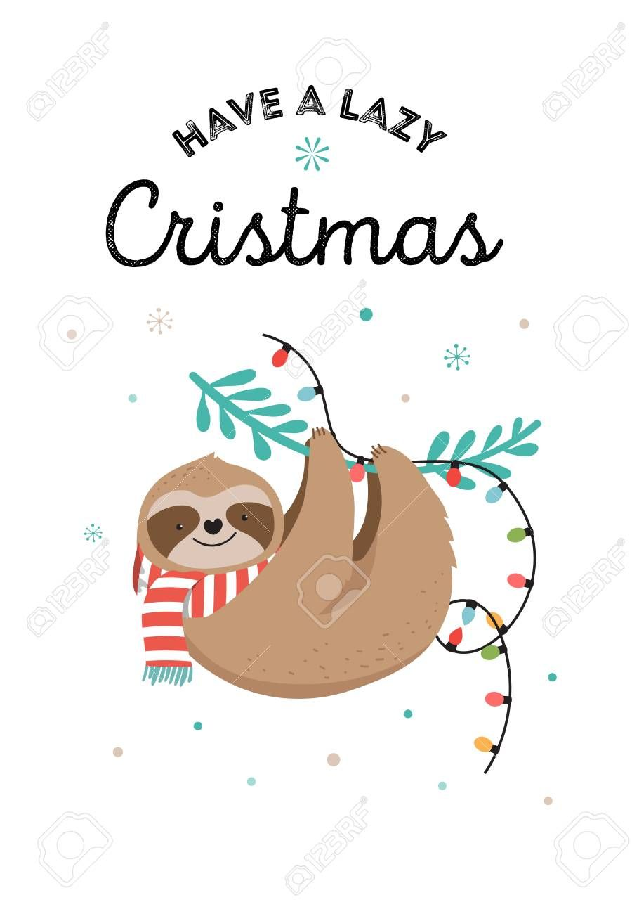 Cute Sloths Funny Christmas Illustrations With Santa Claus Costumes Christmas Illustration Funny Christmas Images Christmas Drawing