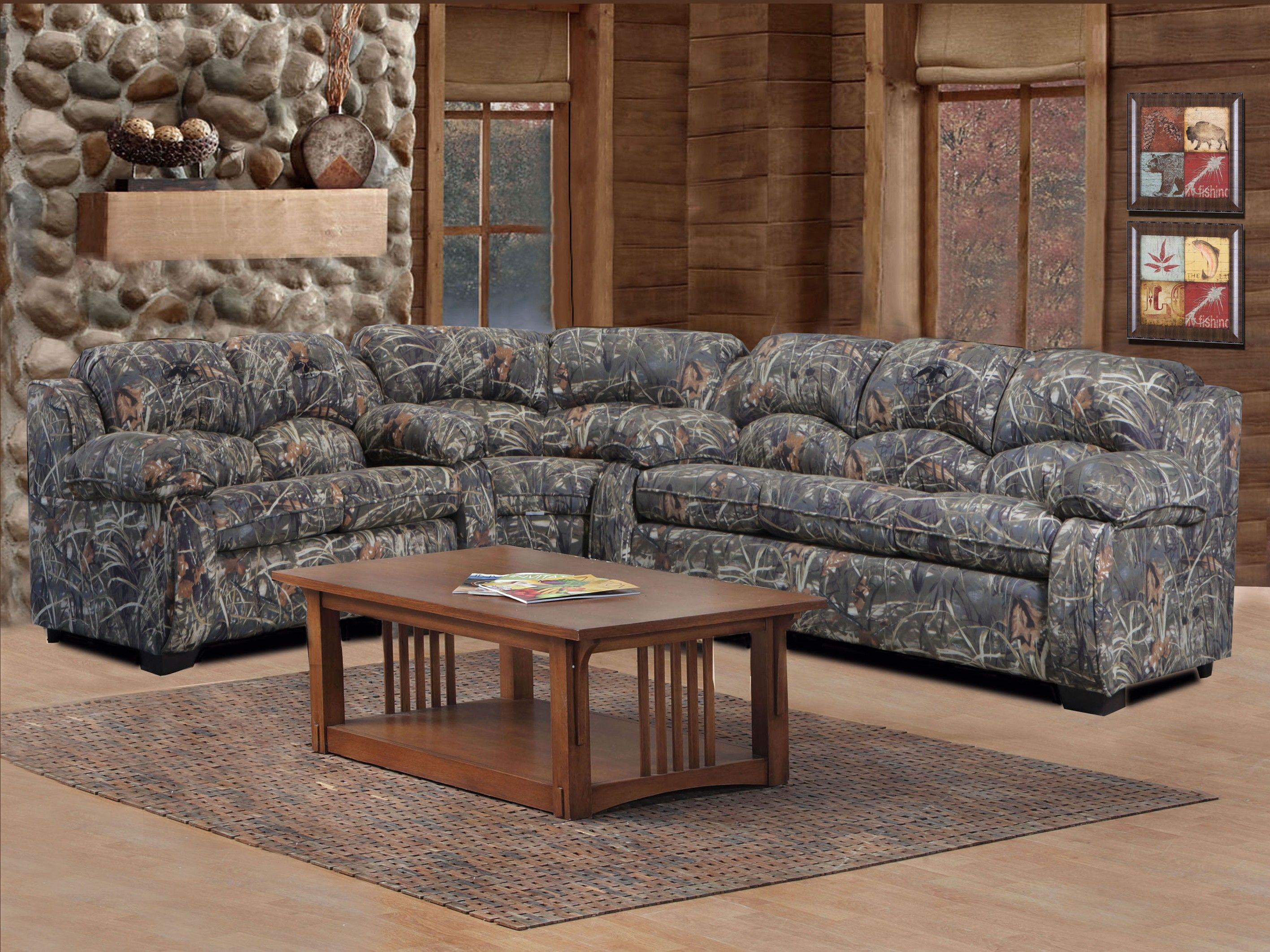 Sleeper Sofas Duck Commander Sectional Piece Sofa Loveseat and Wedge Duck Dynasty Camouflage