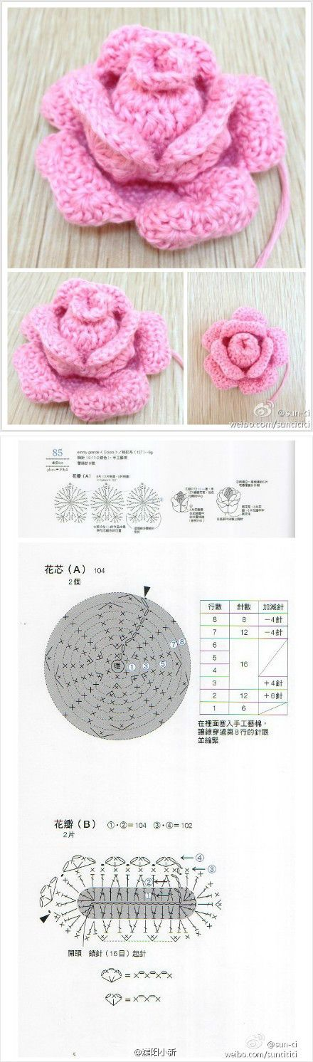Rosa. Patrón en japonés. | DIY ganchillo | Pinterest | Rosas, Flores ...