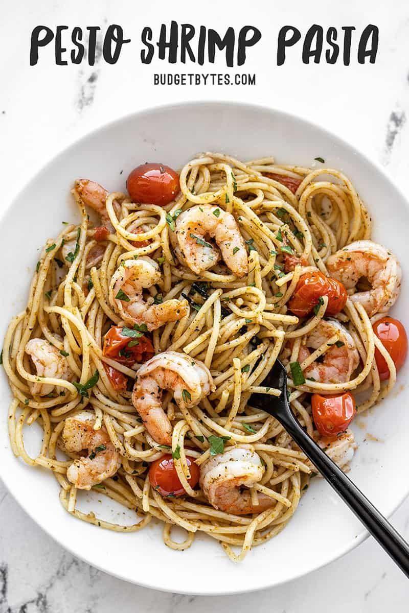 Pesto Shrimp Pasta Quick Weeknight Dinner Budget Bytes Recipe In 2020 Shrimp Pesto Pasta Pesto Shrimp Shrimp Pasta