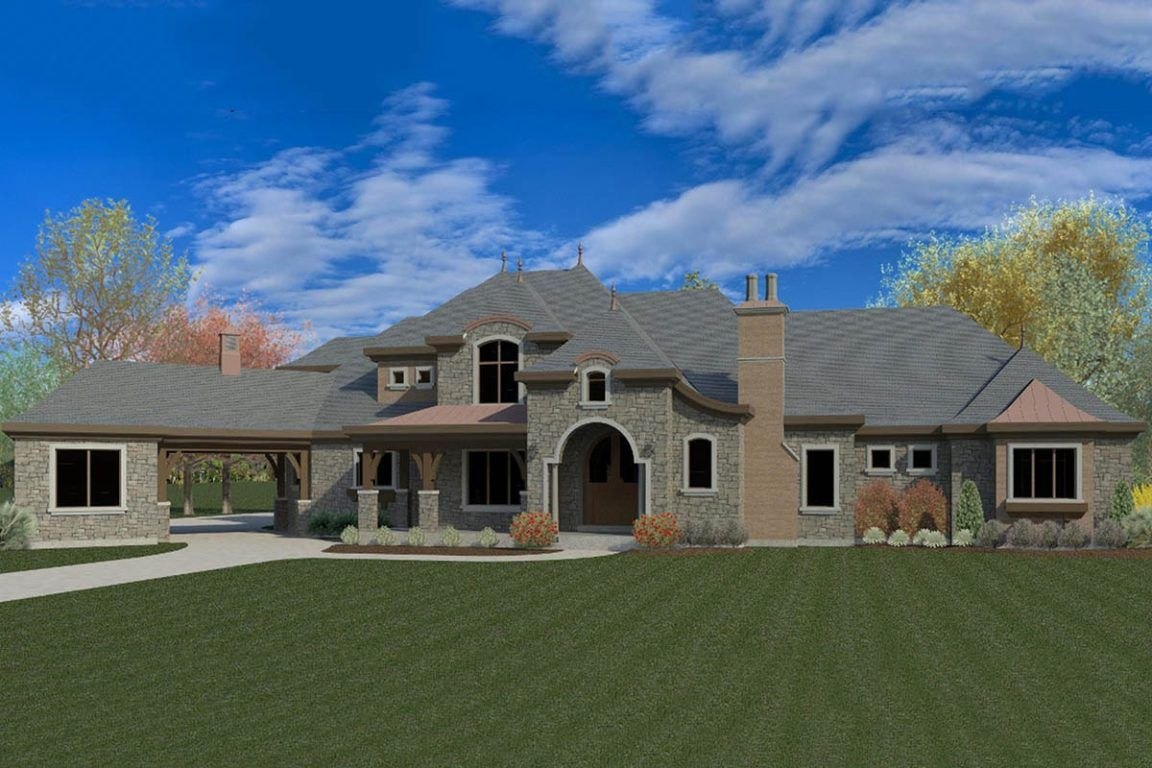 Two Story 4 Bedroom Luxury European Home with a Loft and Balcony Floor Plan