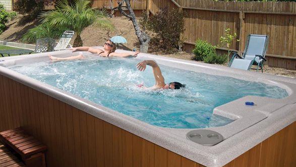 A Swim Spa Because Jason Needs More Exercise Back Yard Ideas Pinterest Spa Endless