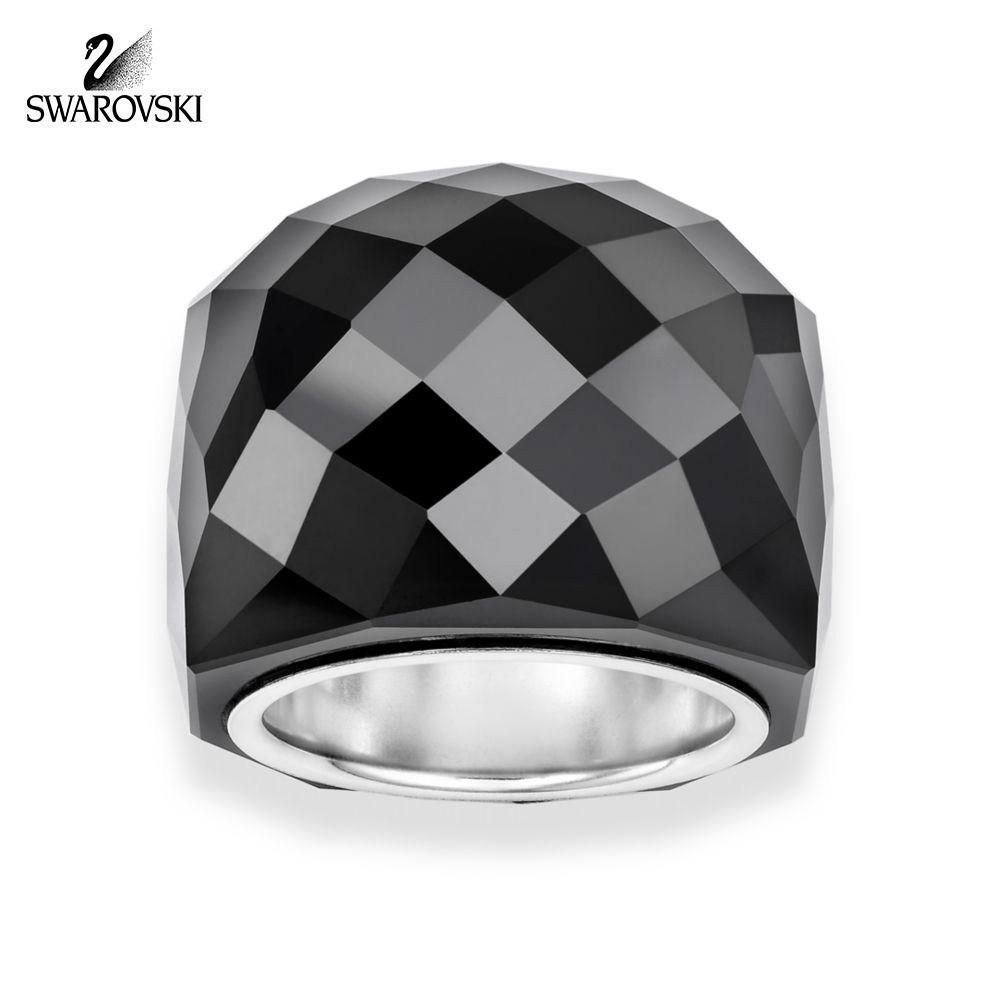 038375566cb3 Swarovski Jet Black Hematite Crystal NIRVANA RING  846395 (Small 52 ...