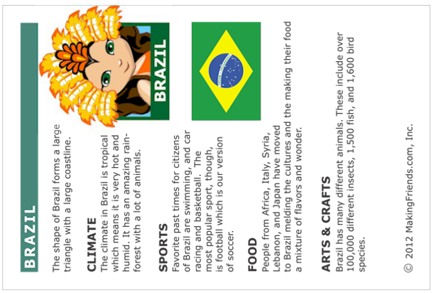 Brazil Fact Card. Free printable from MakingFriends.com for World ...