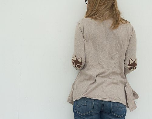 DIY raccoon elbow patches