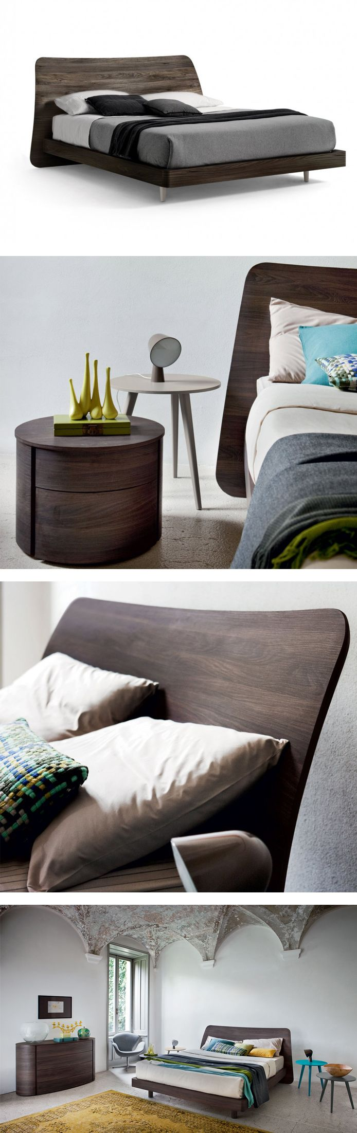 Holzbett modern  Das Design Holzbett Sheet von Novamobili hat ein modern ...