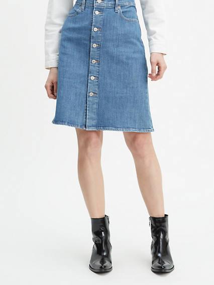 Denim skirt black wool and stretchy fantasy