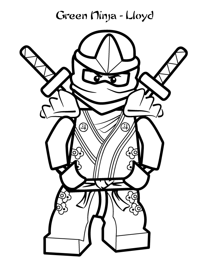 Lego Pose With Two Swords Behind coloring picture for kids