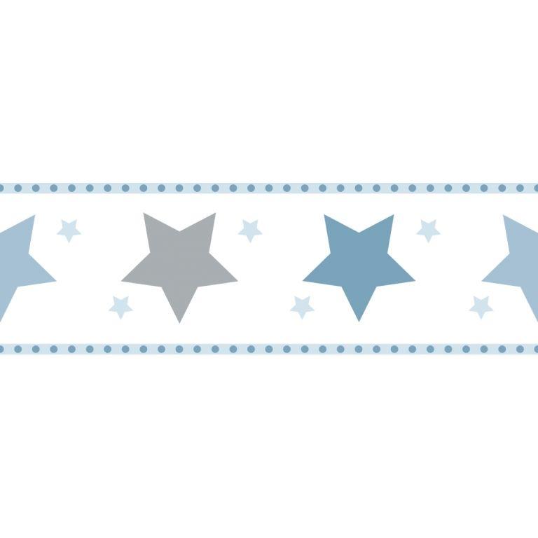 Bordure Sterne Blau Grau Selbstklebend Tapeten Borduren Tapete Kinderzimmer Junge Rasch Textil