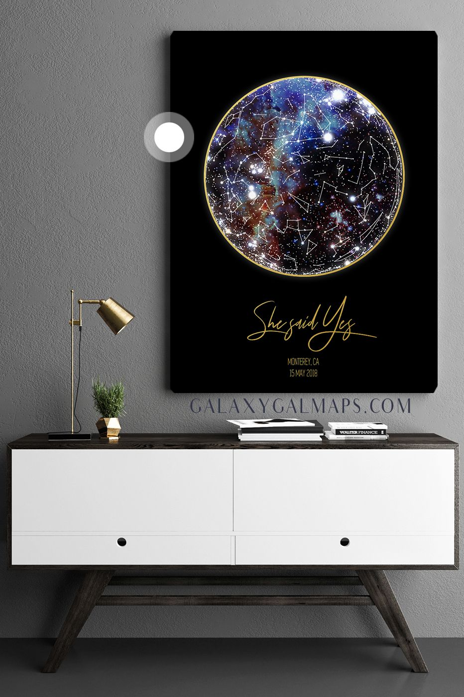 Personalized star map astrology poster wall art printable modern