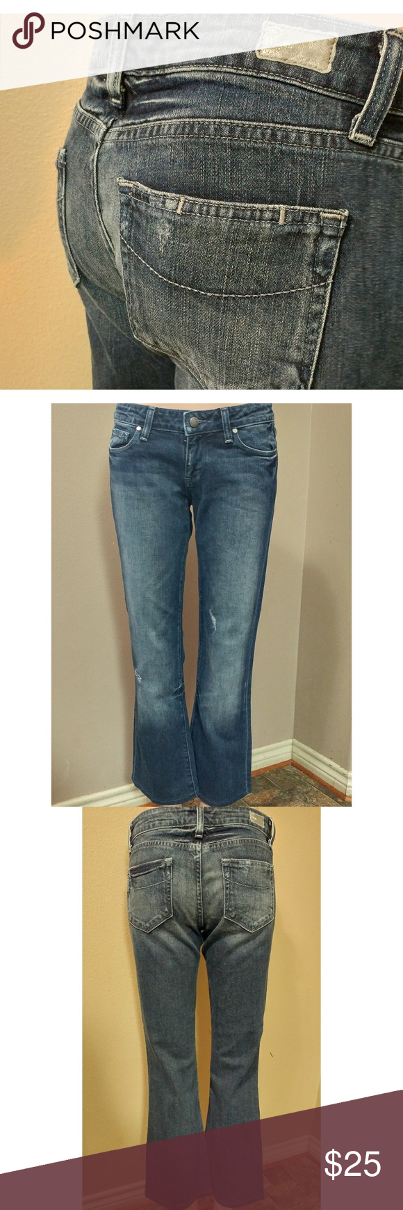"""Paige 27x28 Jeans Paige Laurel canyon distressed jeans size 27 with a 28"""" inseam. In great preowned condition. Waist flat is 15"""" and rise is 8"""" Paige Jeans Jeans Boot Cut"""