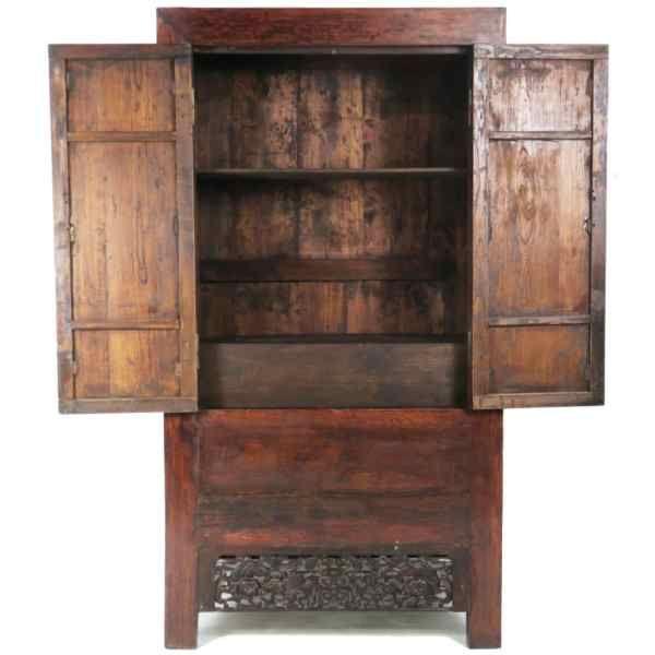 Antique Chinese 7 Ft Tall 2 Door Elm Wardrobe Wedding Cabinet