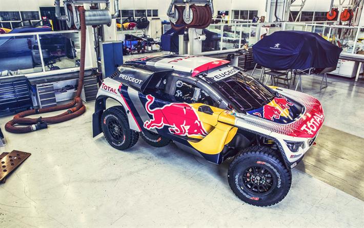 Download wallpapers Peugeot 3008 DKR, rally car, garage, workshop ...