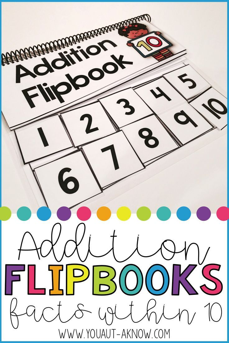 Addition Flipbooks for Addition Facts within 10 | Addition facts ...