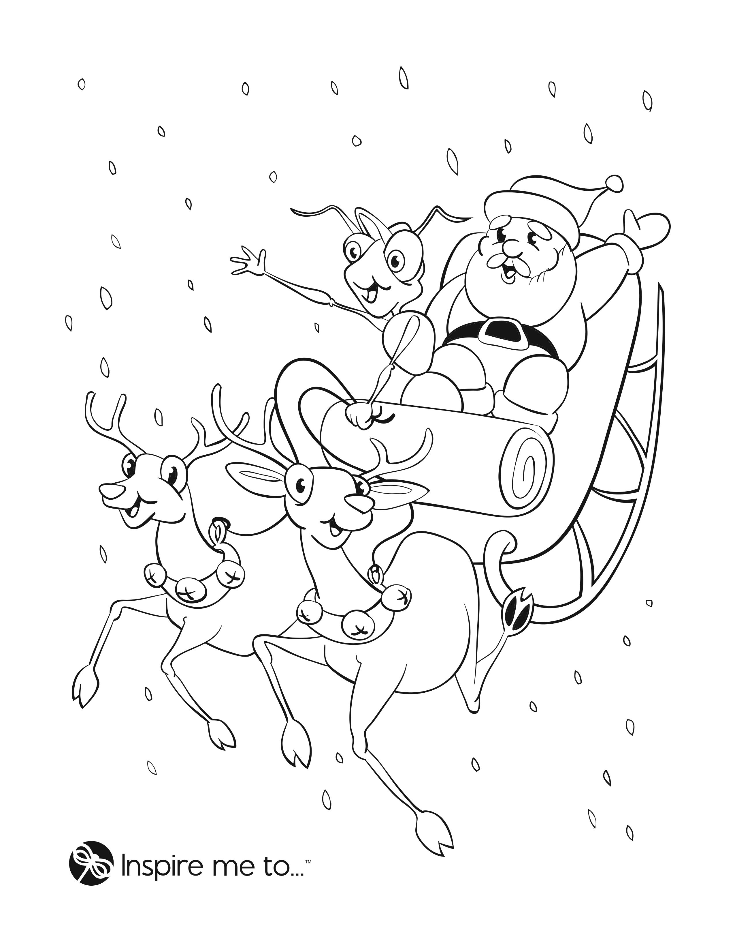 Free Printable Santa And Reindeer Coloring Page From