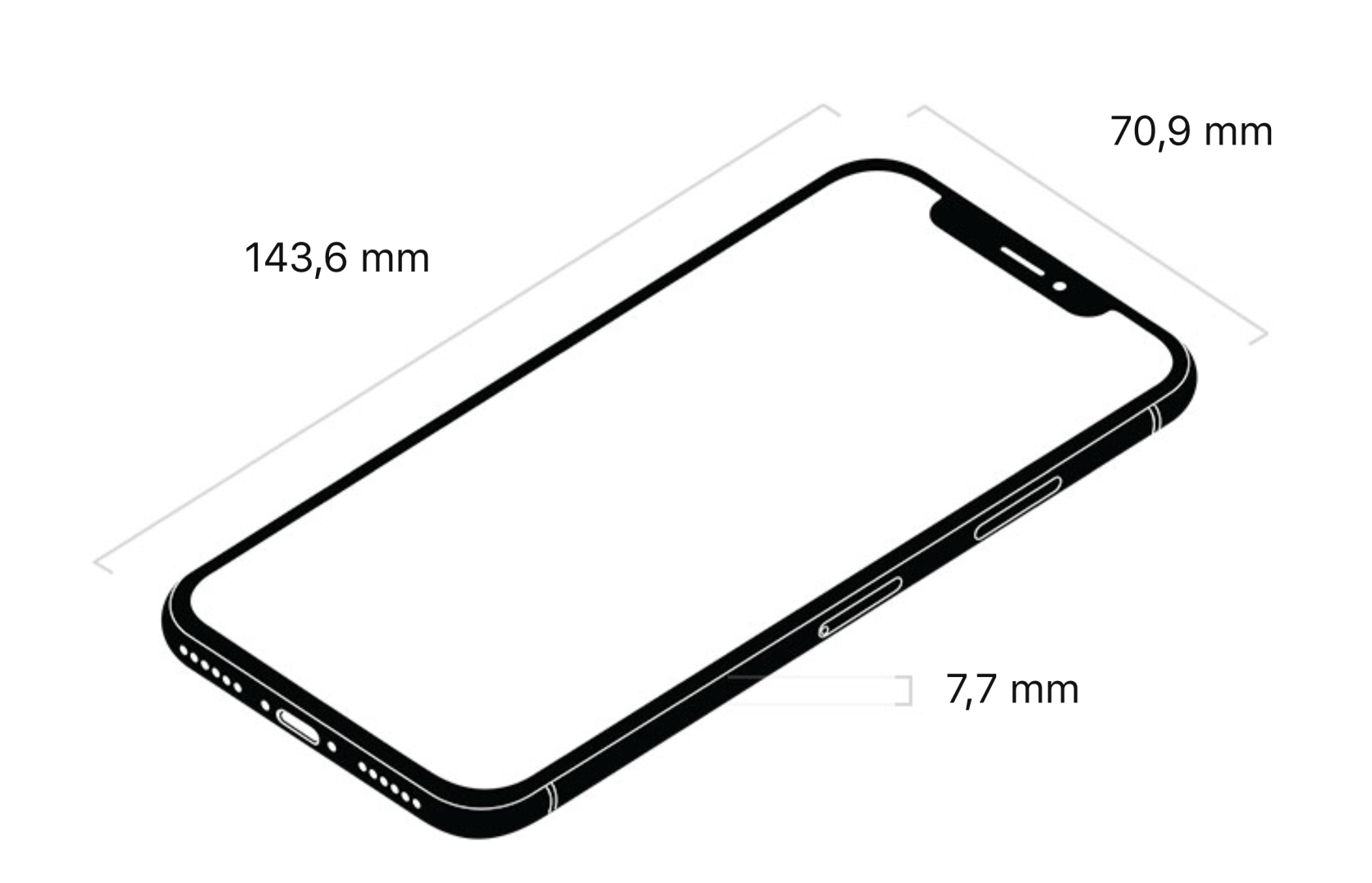 20170912 iPhone X dimensions | francois-remi.fr