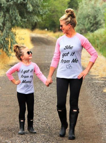 302edf077f Casual Mother & Daughter Matching Long Sleeve Tops T-shirt | Pic me ...
