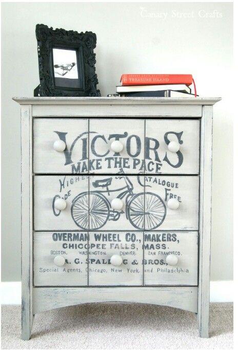 Vintage Stenciled Dresser/End Table.