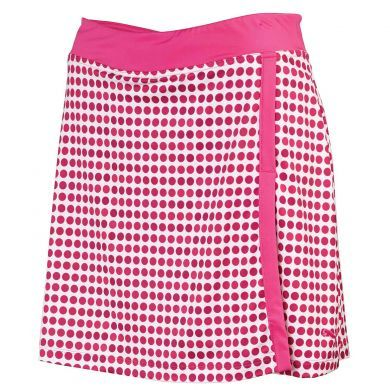 """The Dot Pattern Golf Skirt from Puma Golf features an eye-popping sublimation dot print that will resist fading through sun and wash. The moisture wicking stretch fabric with sporty 17"""" outseam is both comfortable and sporty. UV Resistance rated at +40 UPF"""