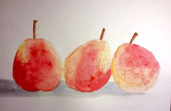 Hey, I found this really awesome Etsy listing at https://www.etsy.com/listing/240212534/trio-of-red-pears-original-watercolor