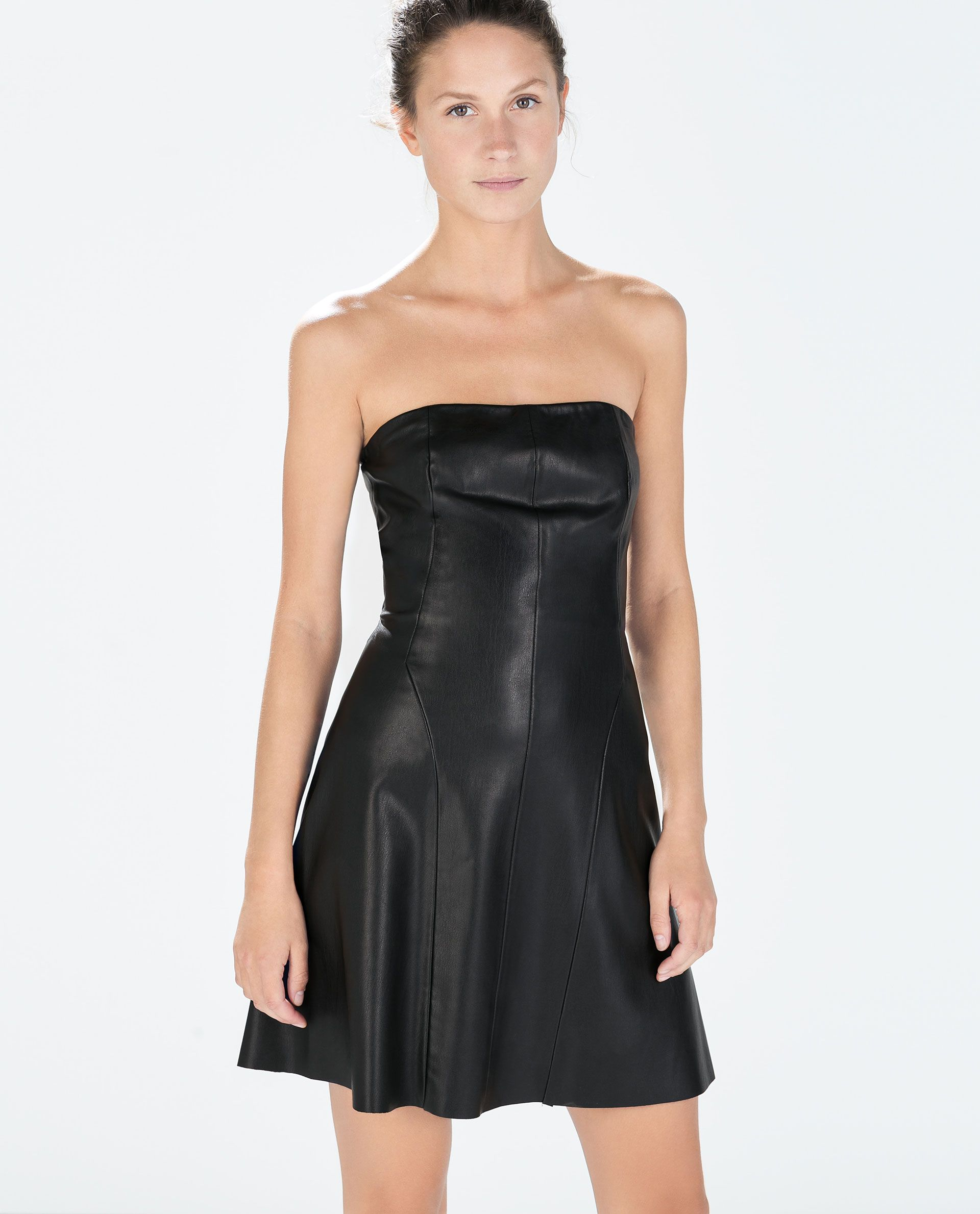 Image 2 of STRAPLESS FAUX LEATHER DRESS from Zara  14  Pinterest ...