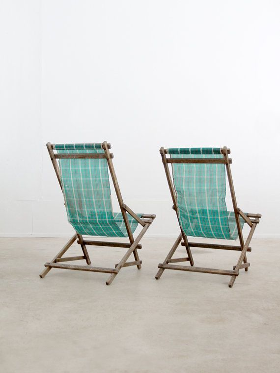 vintage deck chairs / rocking beach chairs by 86home on Etsy $295.00 & Vintage deck chairs / rocking beach chairs | Pinterest | Deck chairs ...